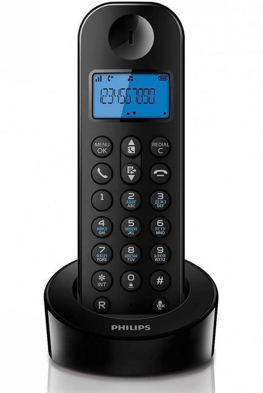 Радиотелефон Philips D1201B Black